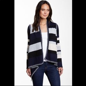 FATE• Striped open front cardigan sharkbite hem
